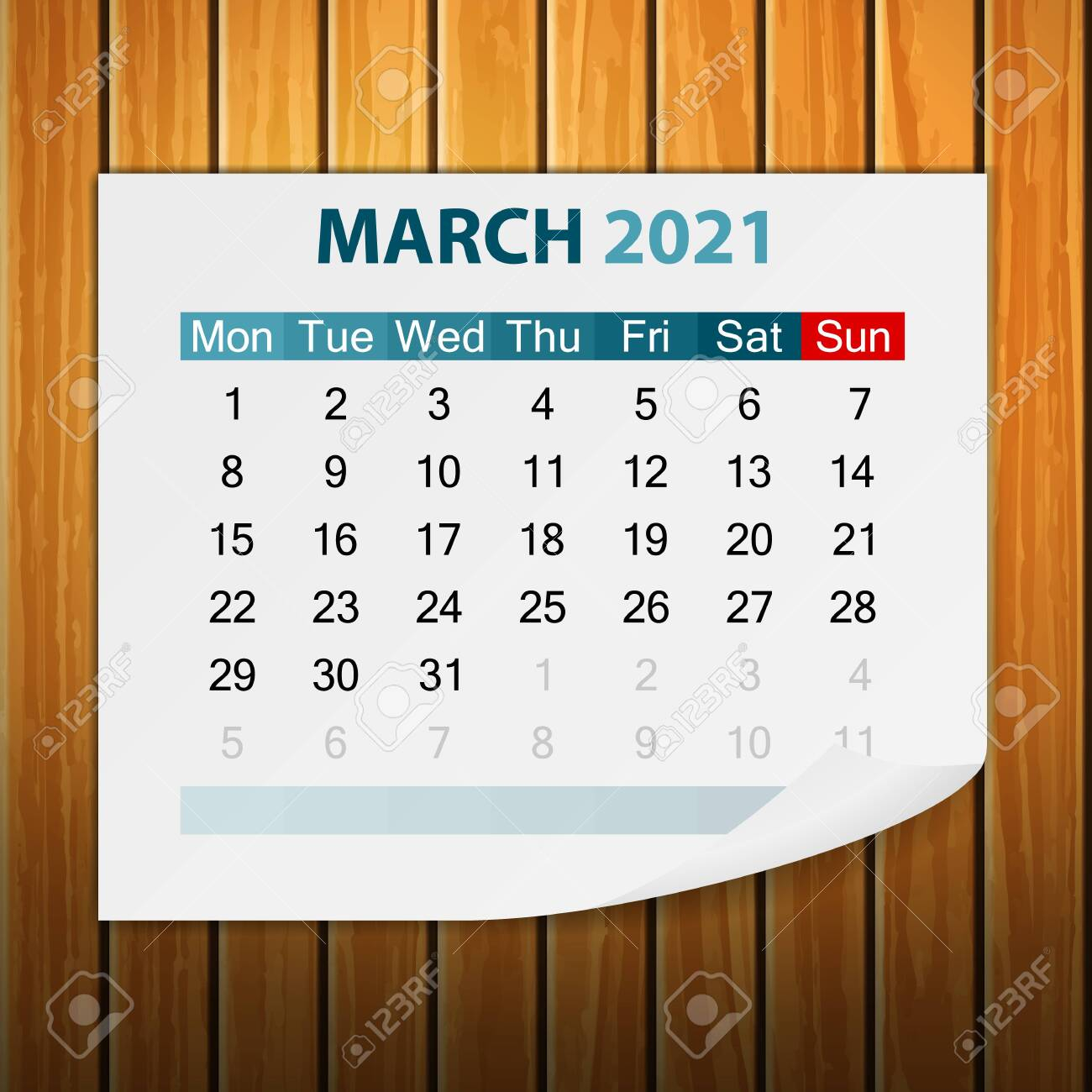 photo stock vector calendar march 2021 on wood background vector illustration