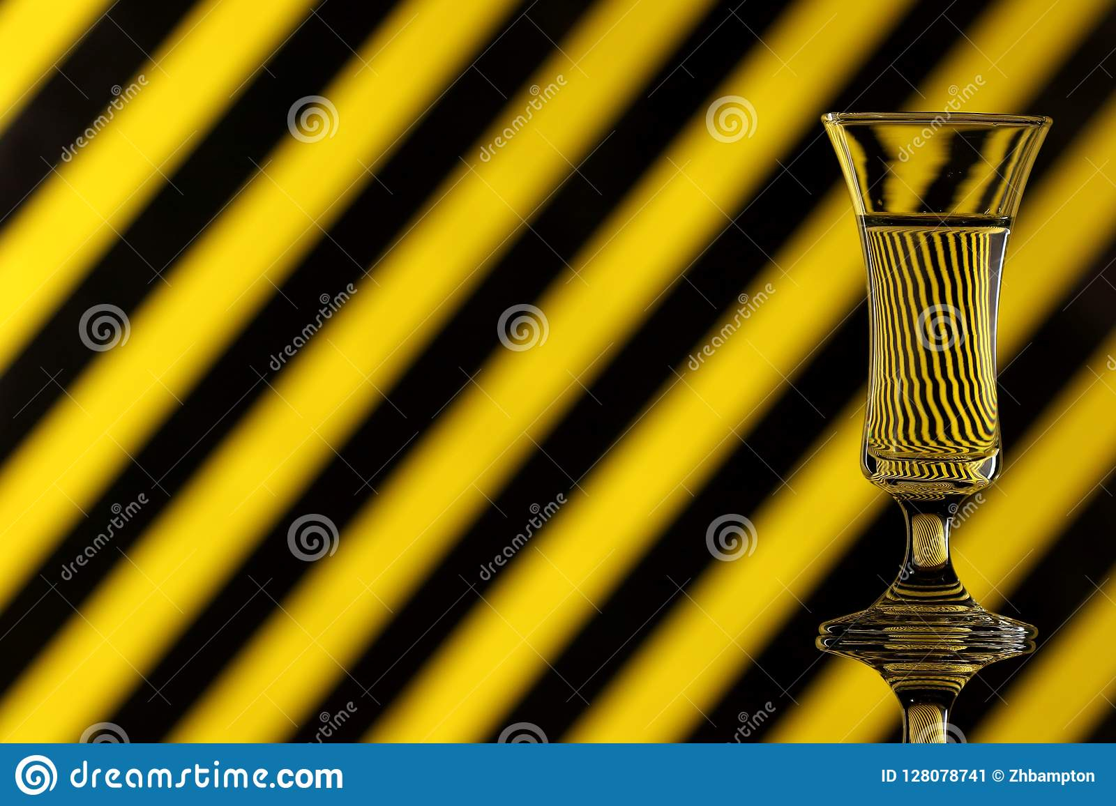 glass water multicoloured background showing refraction canvas wall art yellow black striped copy space