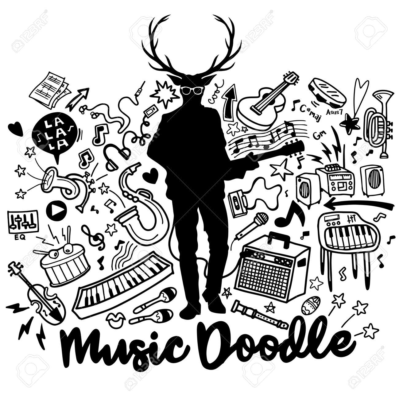 photo stock vector hipster deer with a guitar and cool eye glasses abstract music background collage with musical instr