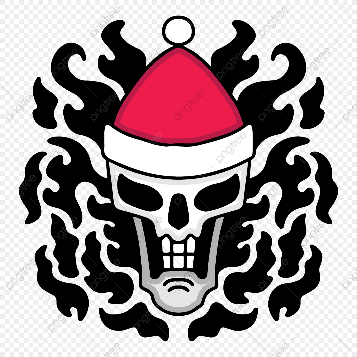 pngtree illustration of a cool skull wearing santa claus hat hand draw png image