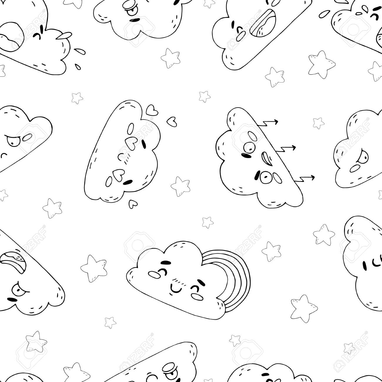 seamless pattern of cute clouds on white background character and emotion in cartoon style hand draw