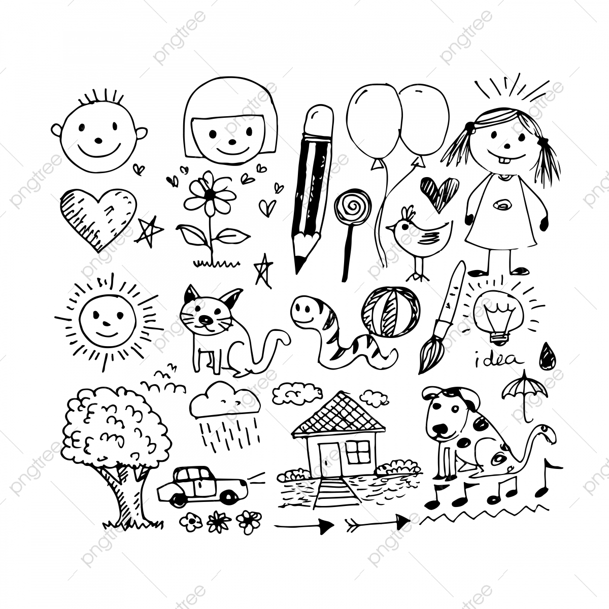 pngtree children hand draw doodle icon png image
