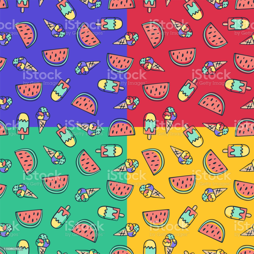 hand draw doodle ice cream and watermelon seamless pattern summer background design gm