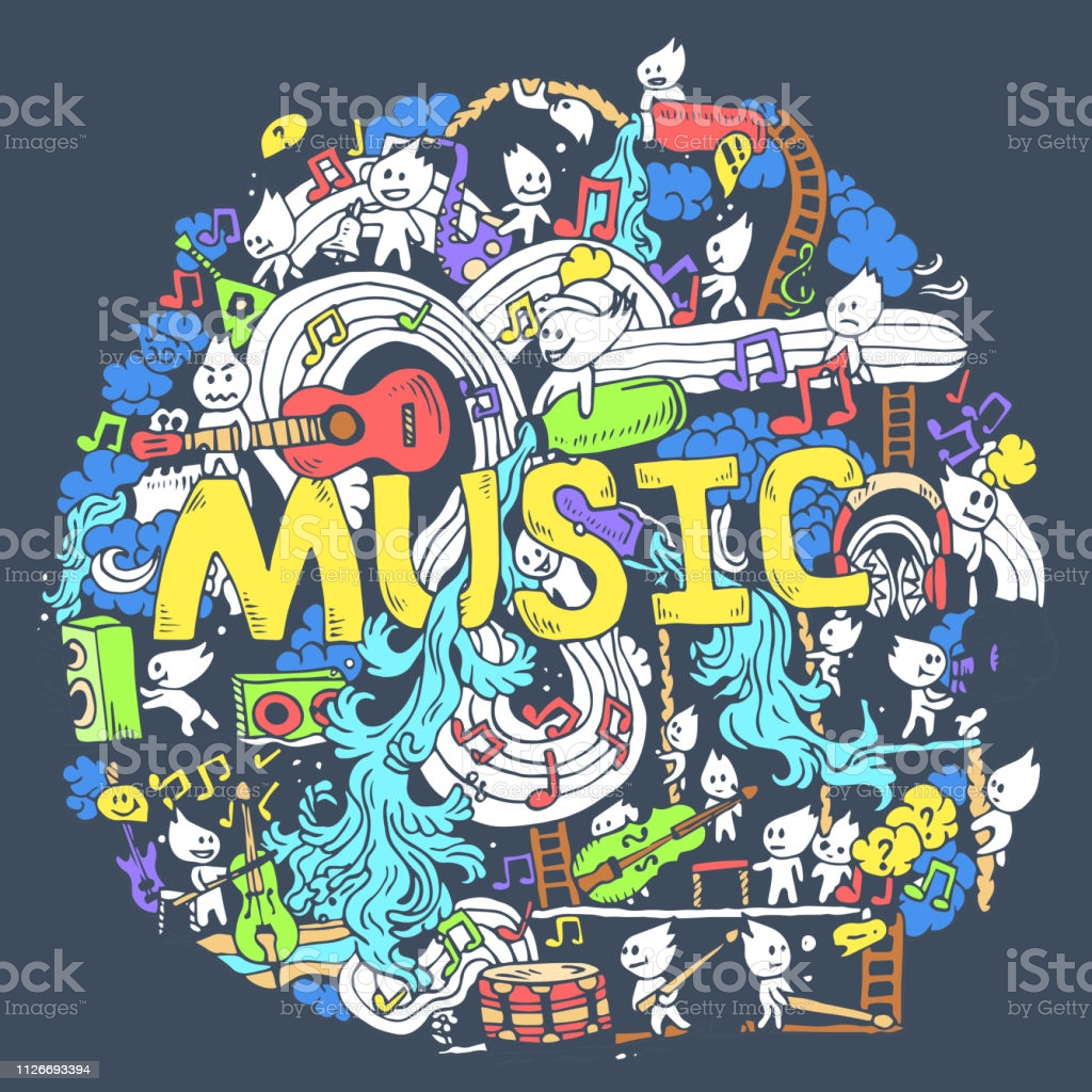 abstract musical art with funny creatures hand draw background design vector id
