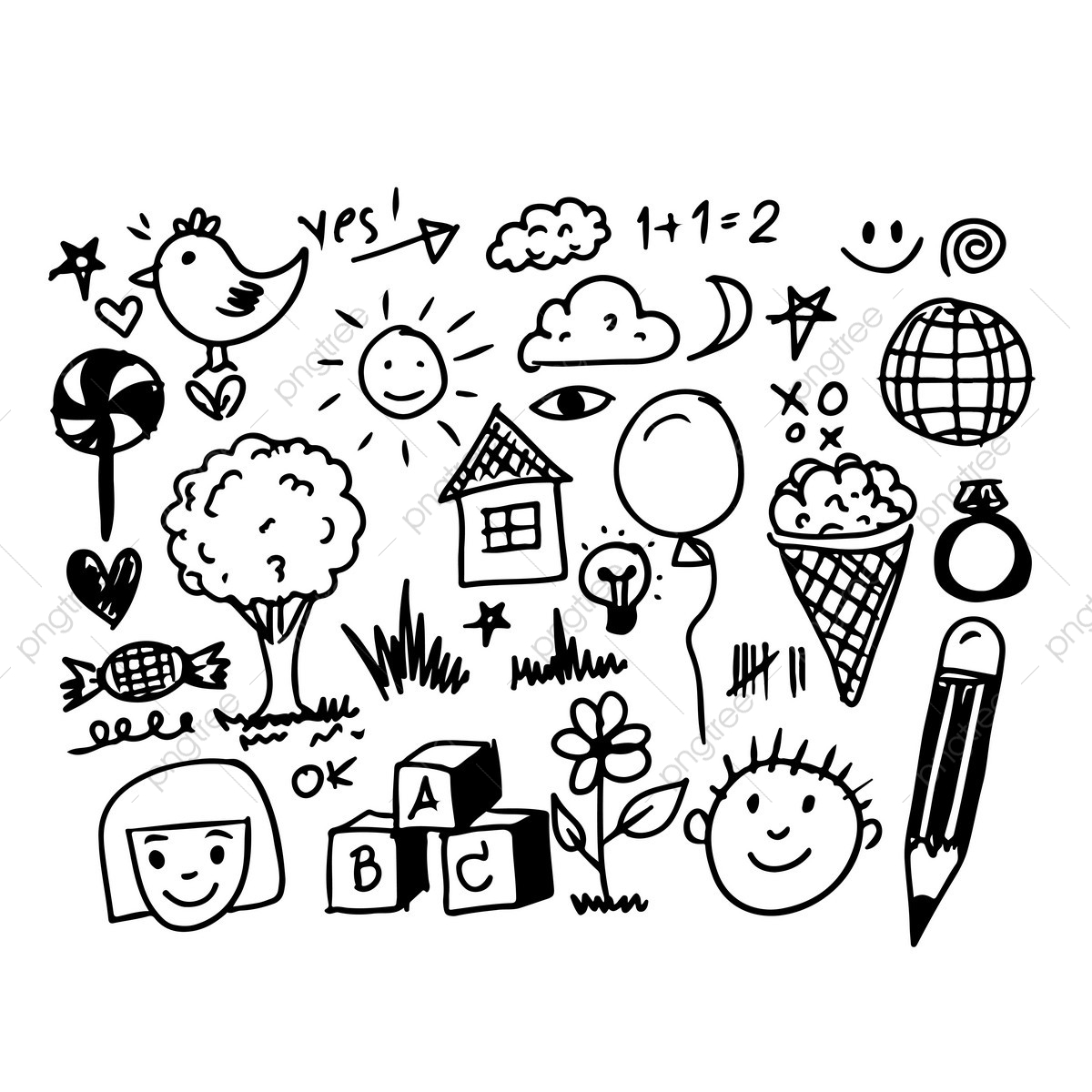 pngtree hand draw business doodles icon png image