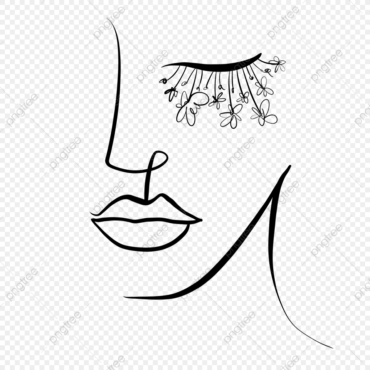 pngtree line draw flowers decorative eyelashes abstract woman png image