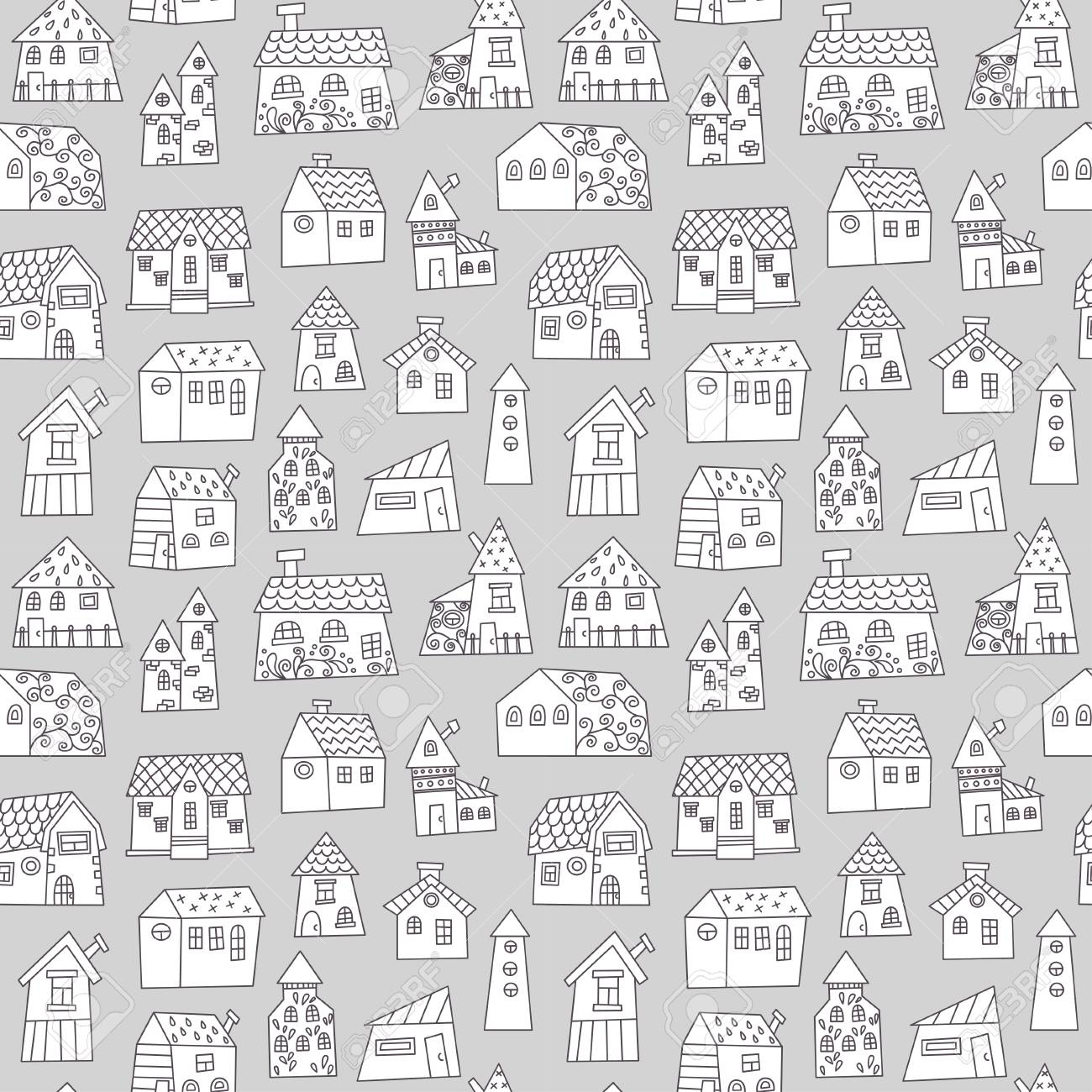 photo stock vector doodle hand drawn town seamless pattern black and white abstract wallpaper vector illustration for y