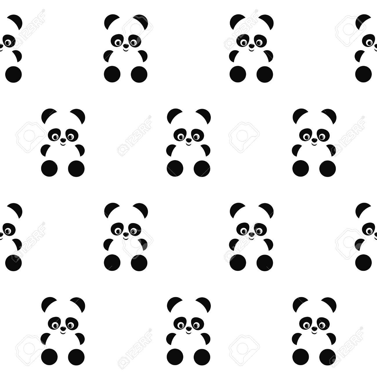 panda seamless pattern on white background cute design for print on baby s clothes textile wallpaper