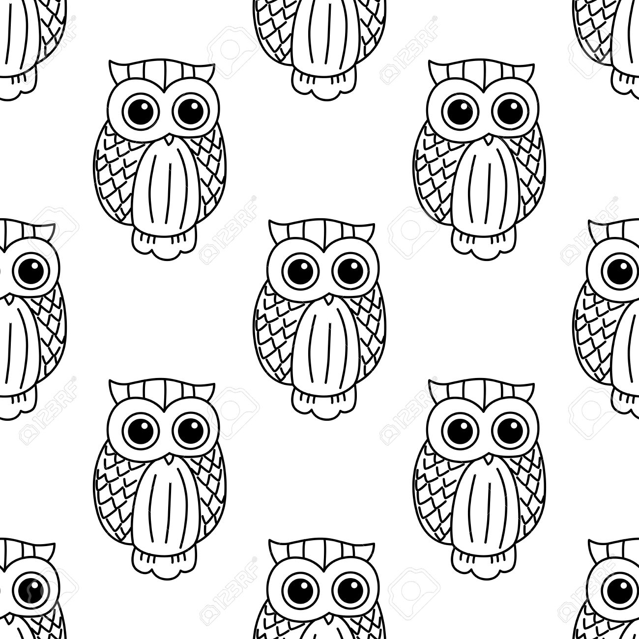 photo stock vector vintage seamless pattern with cute black owls in outline sketch style on white background for textil