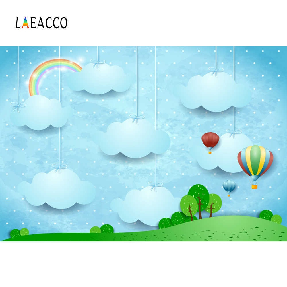 Laeacco Rainbow Backdrops Baby Drawing Cloud Hot Balloon Tree Shiny Star Grass Pattern graphic Backgrounds For q50