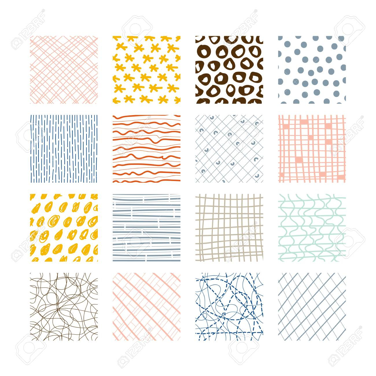 photo stock vector set of abstract colored squares hand drawn backgrounds design elements doodle drawings simple scratc