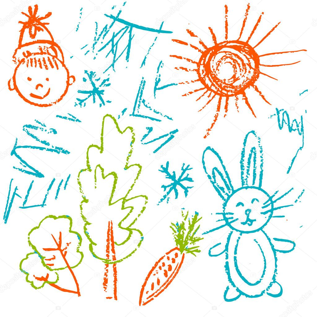 depositphotos stock illustration children drawings elements design postcards