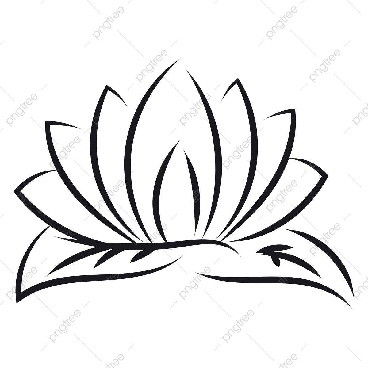 pngtree black outlines of lotus vector illustration on white background png image