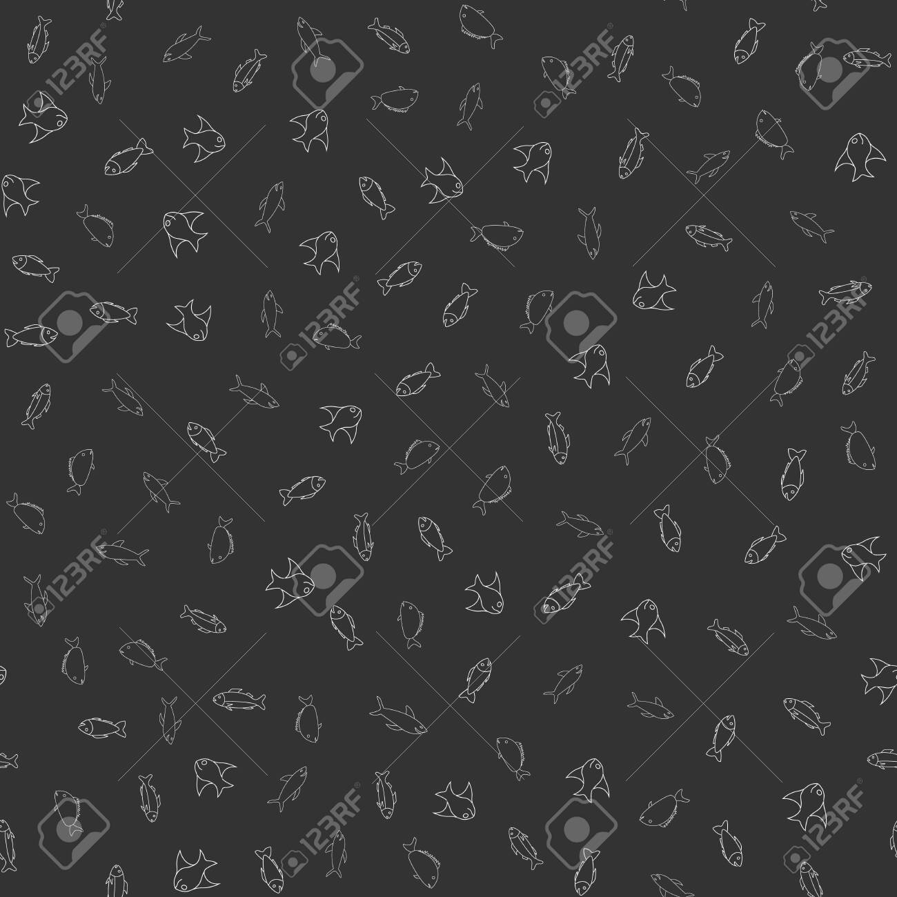 photo stock vector fish themed freehand drawings seamless pattern hand drawn fish elements doodles design for wallpaper