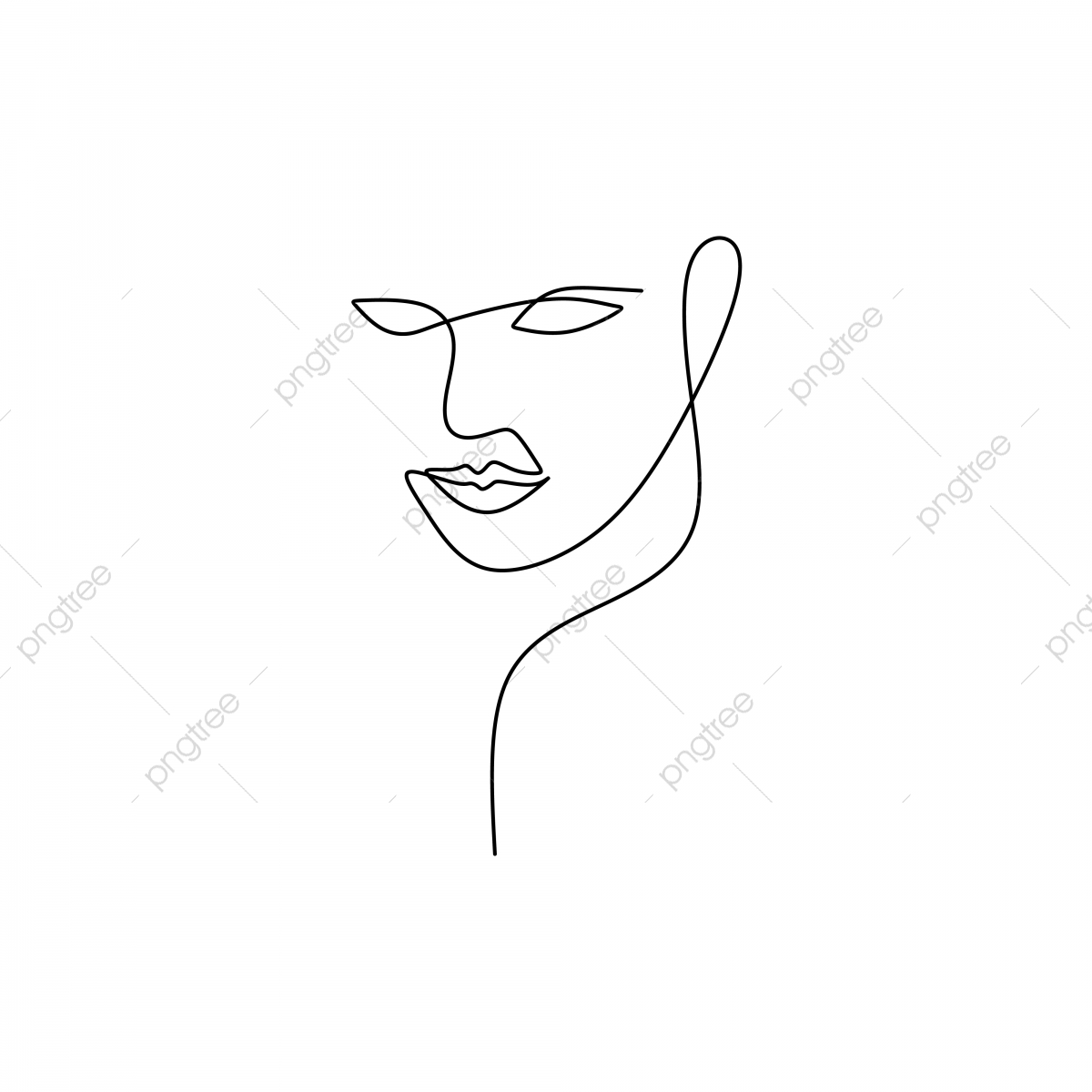 pngtree abstract face continuous one line drawing vector illustration minimalism style on png image