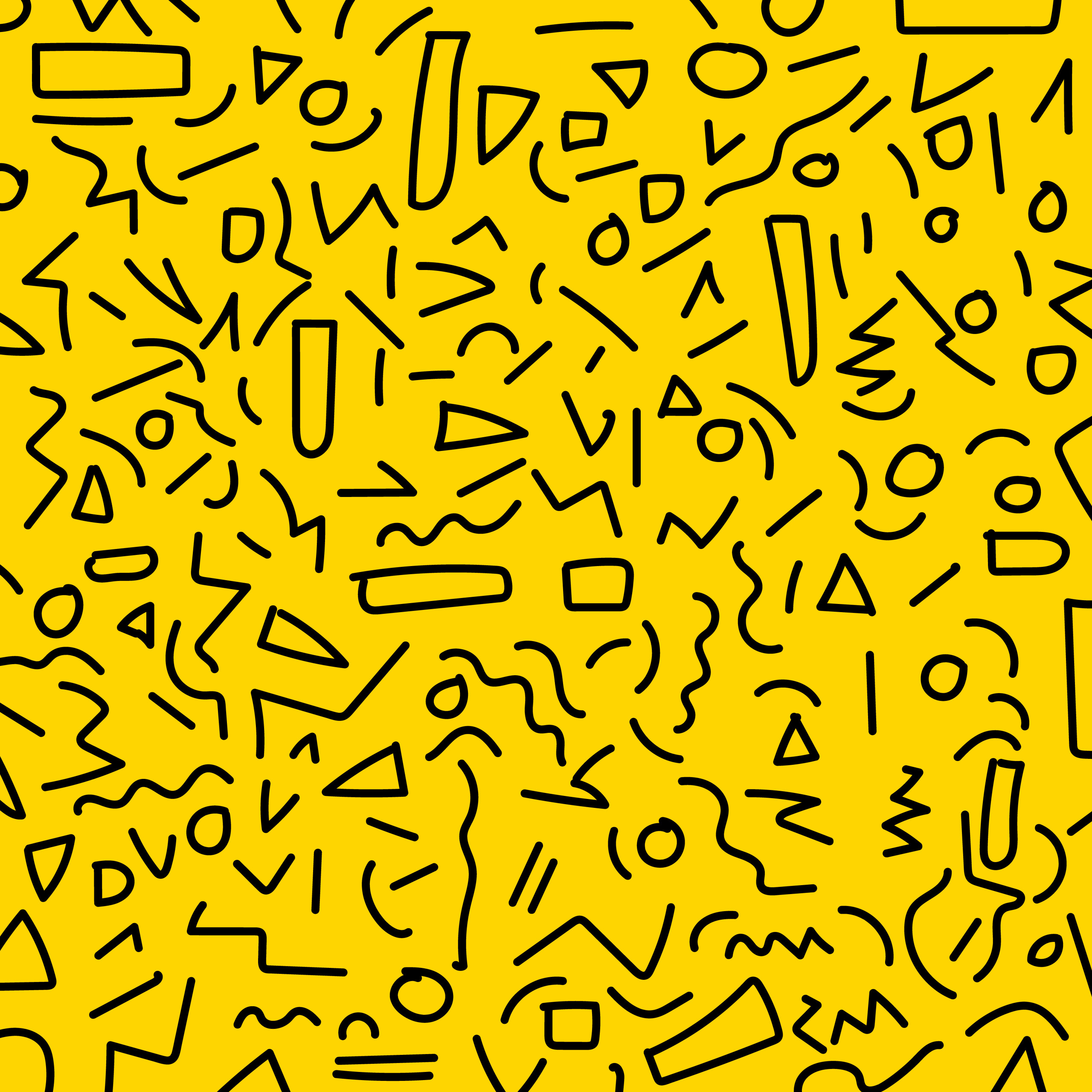 hand draw black geometric memphis pattern 80 s 90 s styles on yellow background
