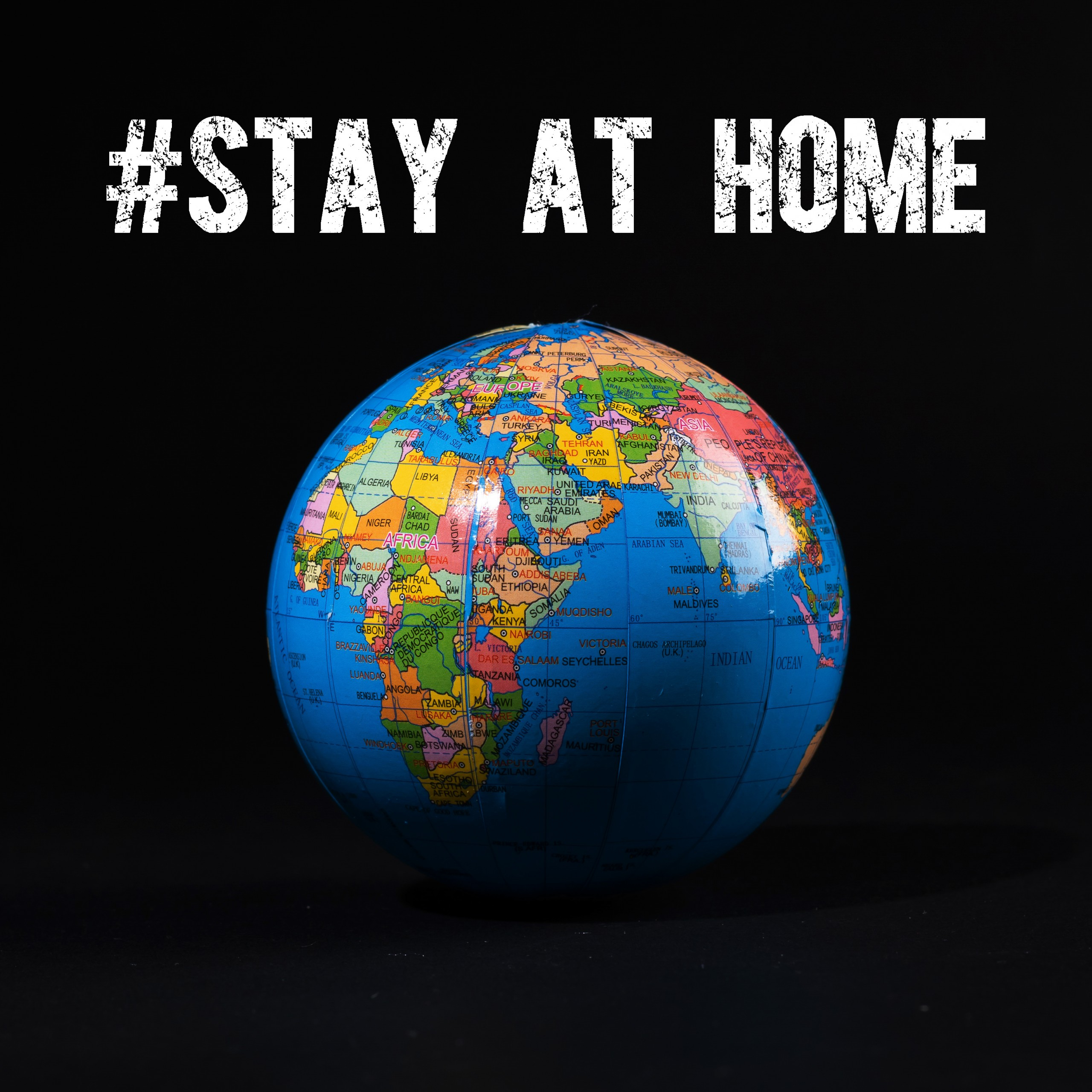 stay home stop covid 19 globe earth black background 5k 501
