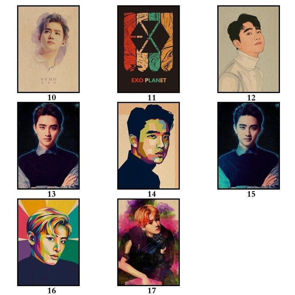 KPOP Exo Poster Pop Group Painting Abstract Funny Fancy Wall Sticker for Coffee House Bar 960x960