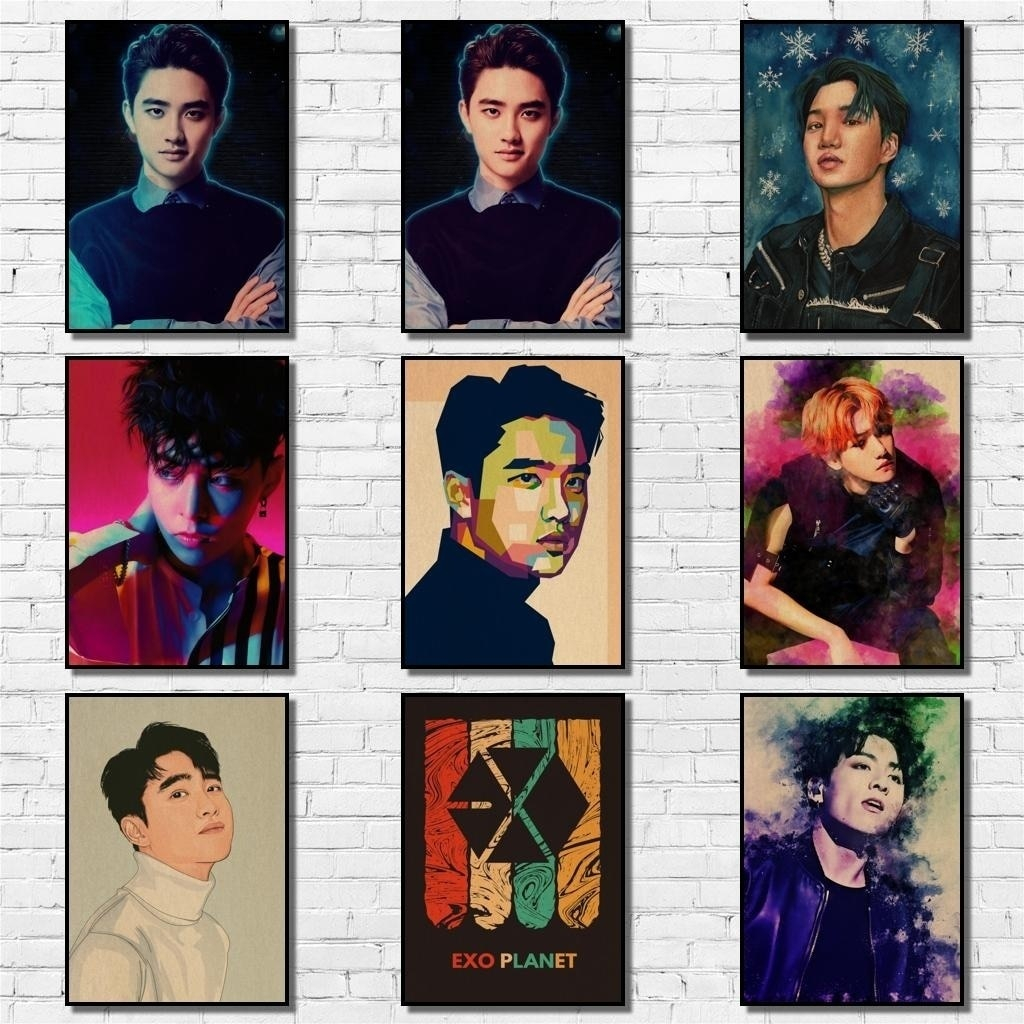 KPOP Exo Poster Pop Group Painting Abstract Funny Fancy Wall Sticker for Coffee House Bar