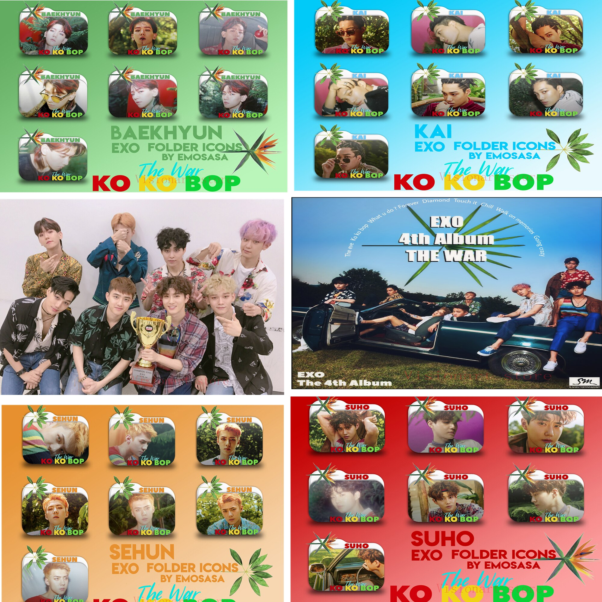 EXO KOKOBOP Posters Clear Image Wall Stickers Home Decoration Good Quality Prints White Coated Paper Abooly