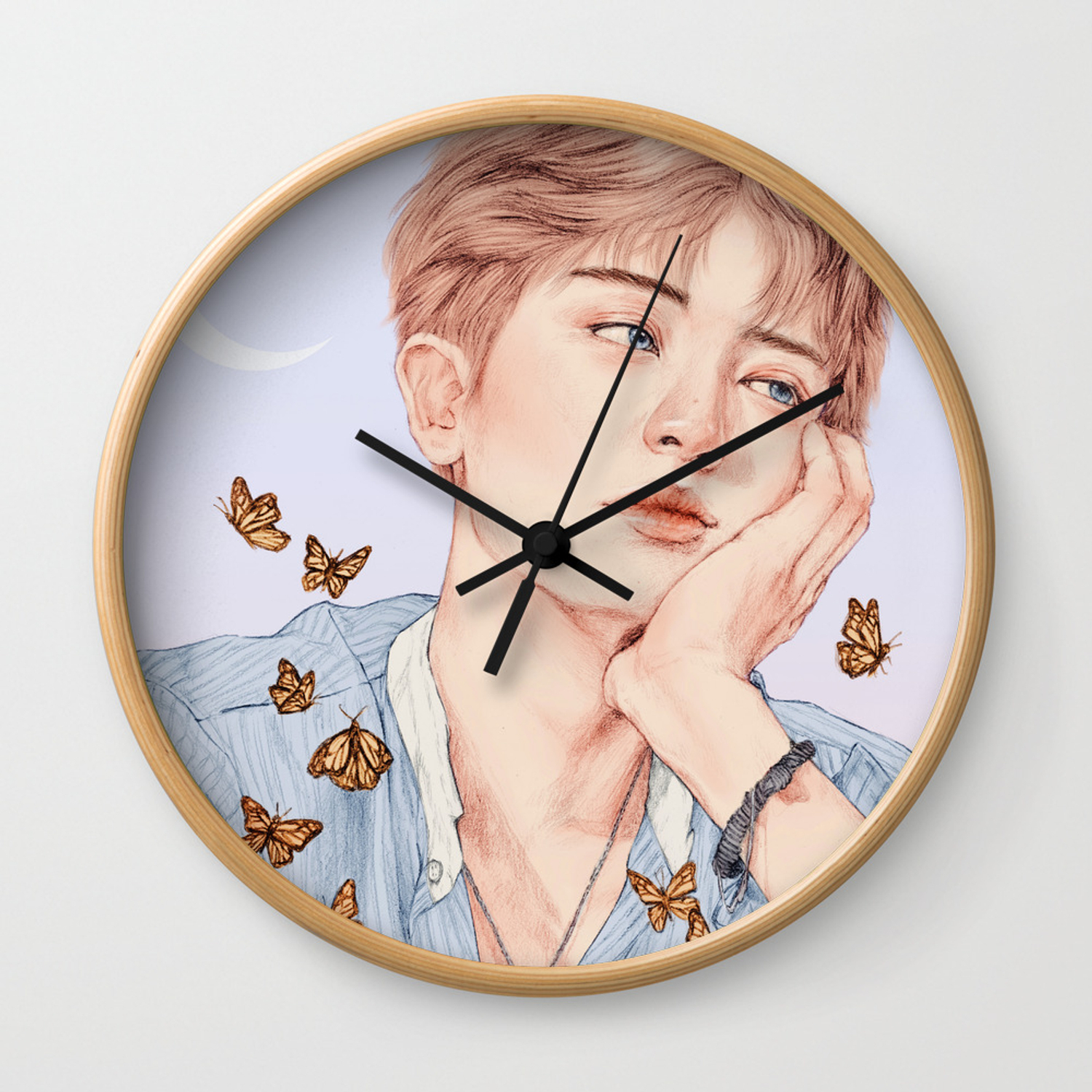 butterfly boy chanyeol exo wall clock