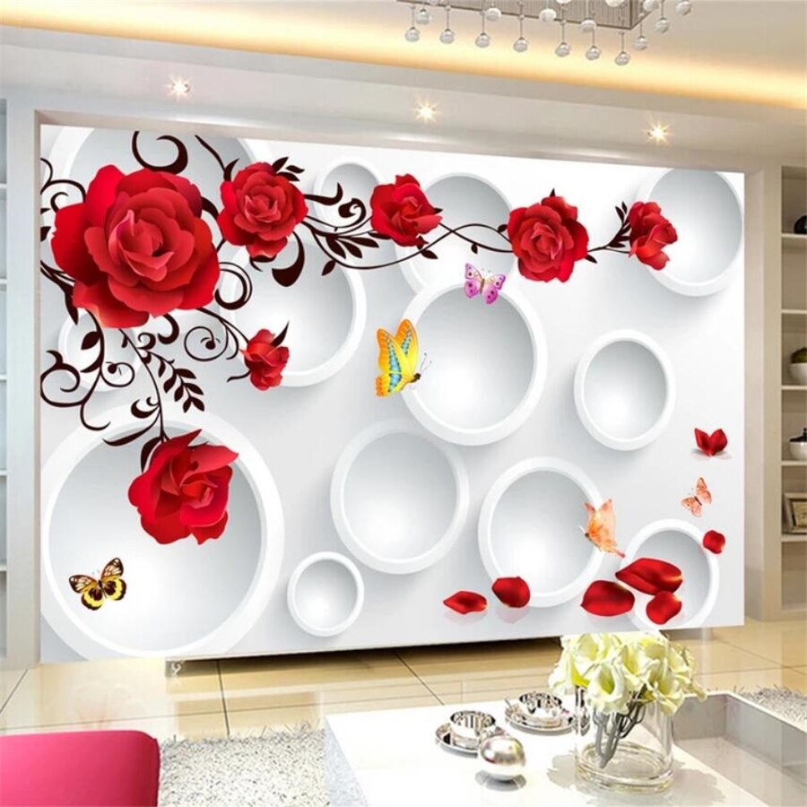 beibehang Custom wallpaper 3D mural circle rose romantic love background wall living room bedroom wall papers 960x960