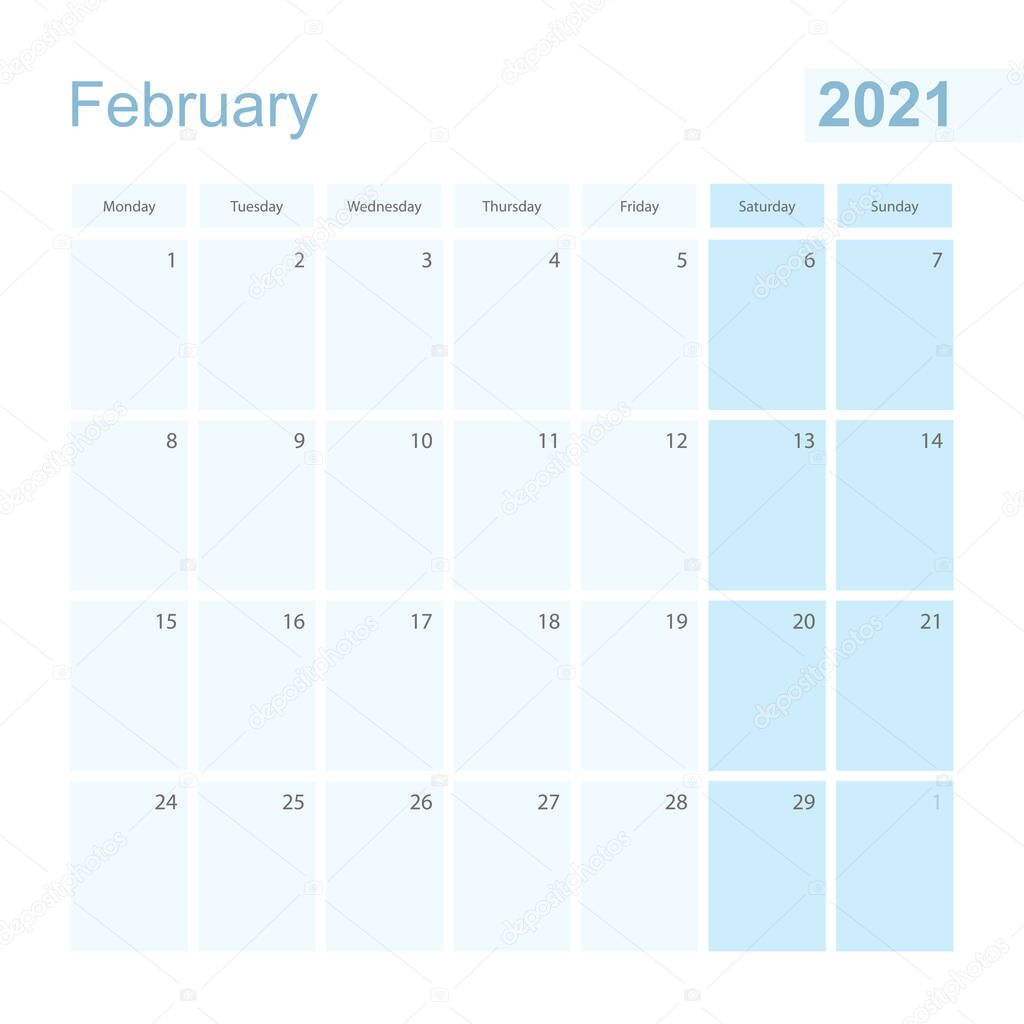 2021 february wall planner in blue pastel color week starts on monday calendar for february 2021 with blue square and with day of previous and next month
