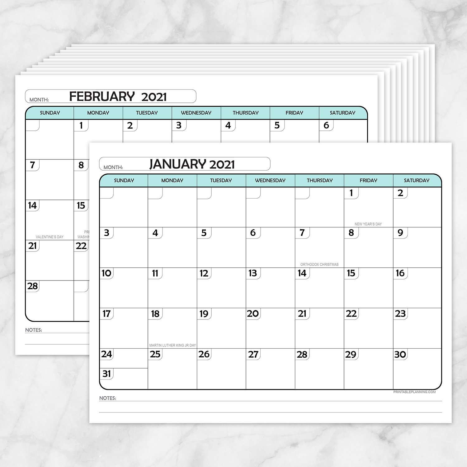 modern teal 2021 calendar pages printable