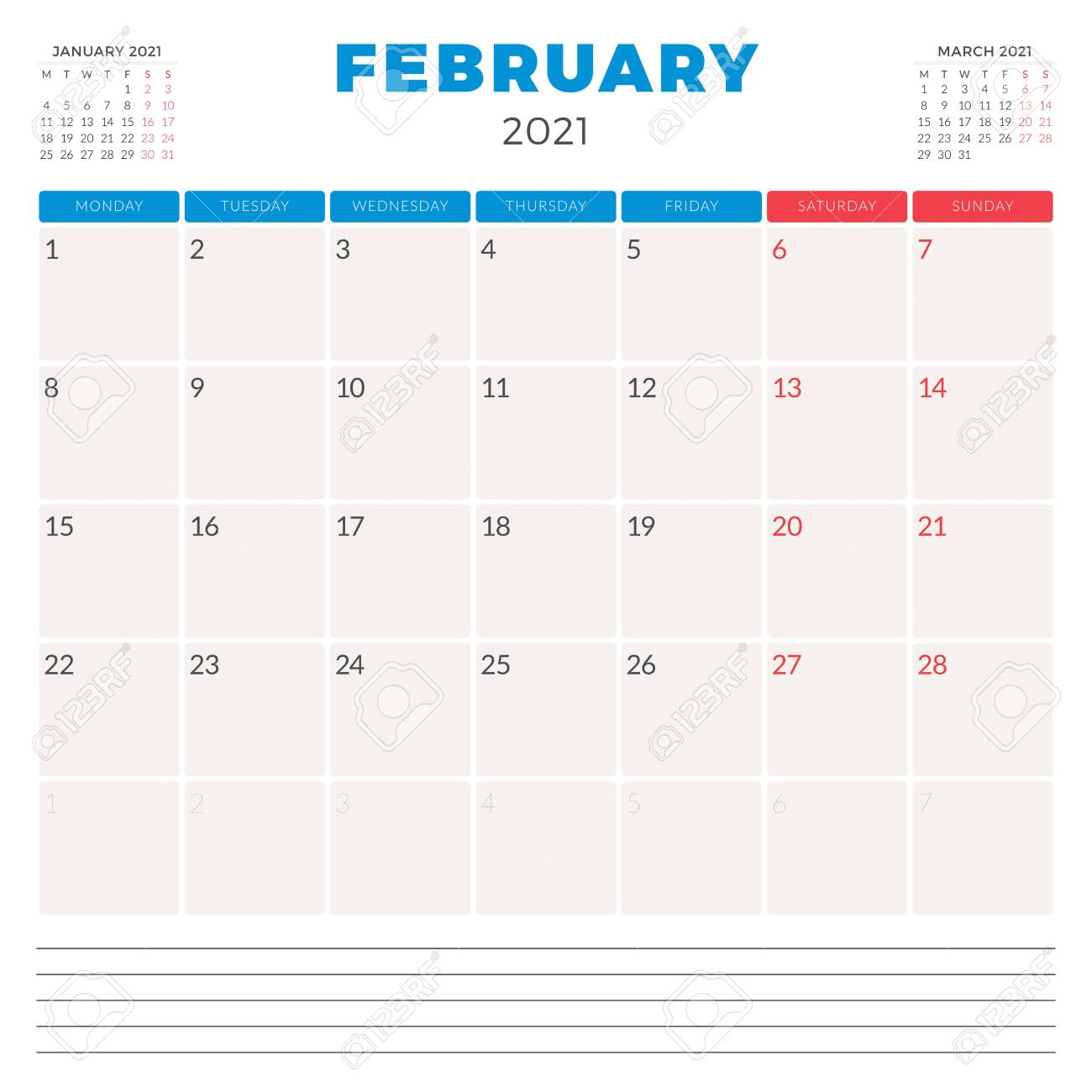 photo stock vector calendar planner for february 2021 week starts on monday printable vector stationery design template