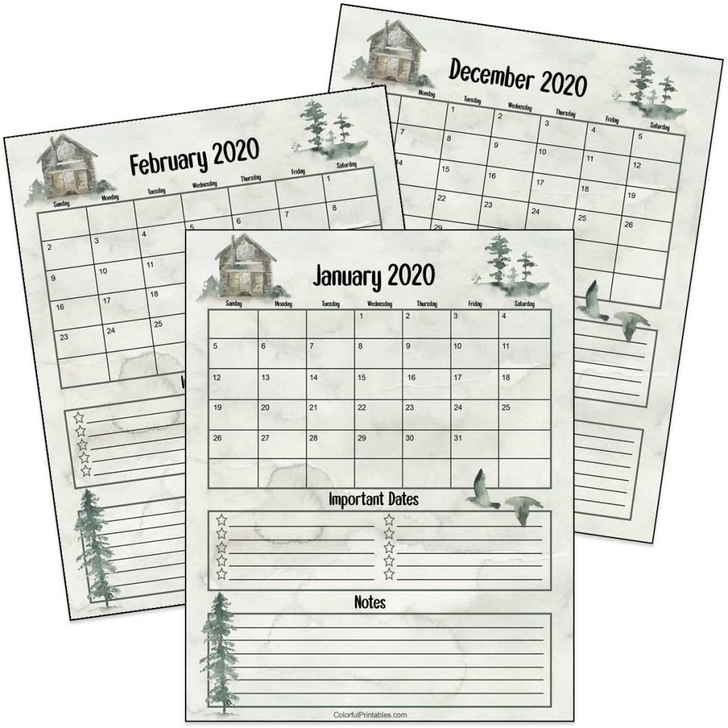 cabin in the woods 2020 calendar printable