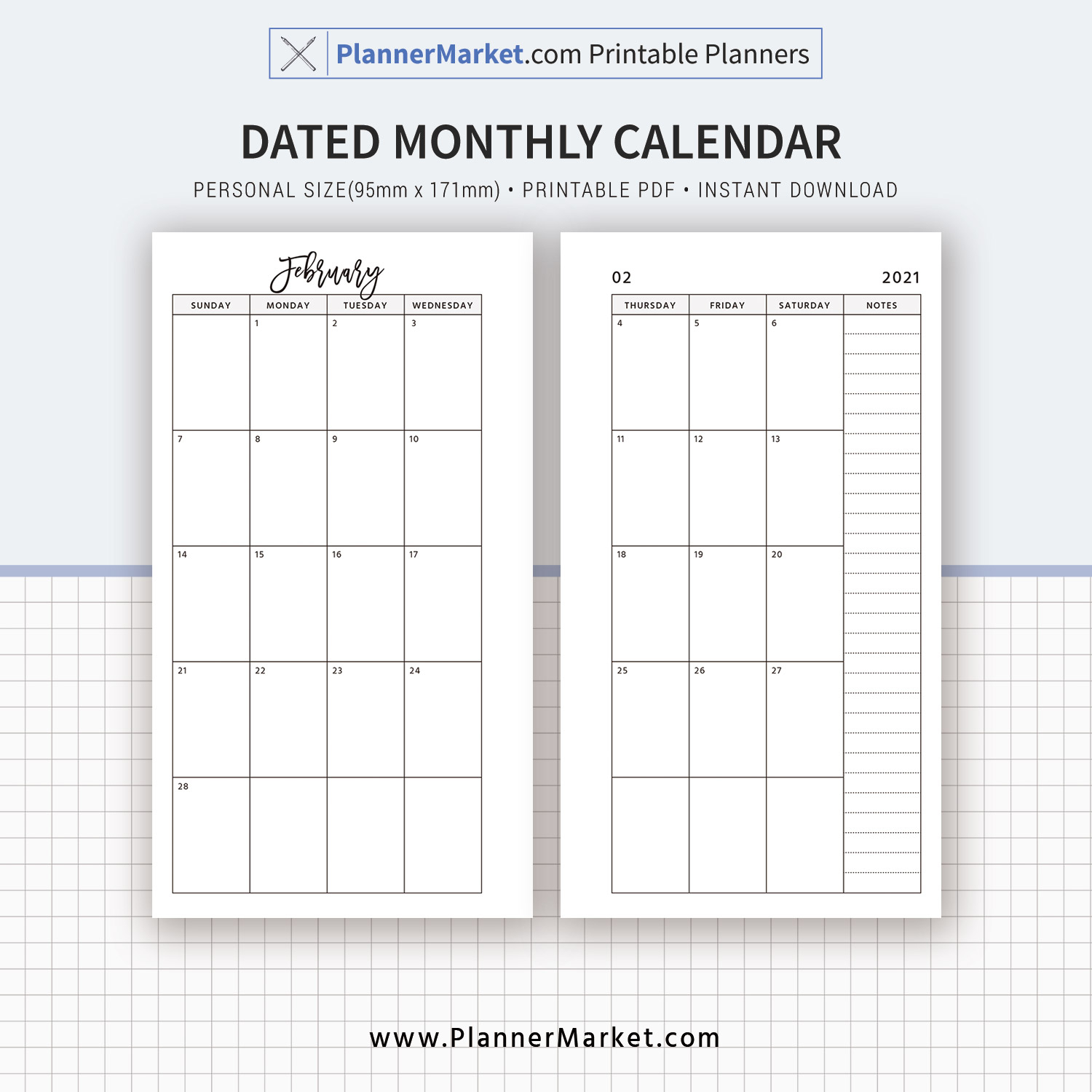 dated monthly calendar monthly organizer personal size planner inserts printable planner refills mo2p