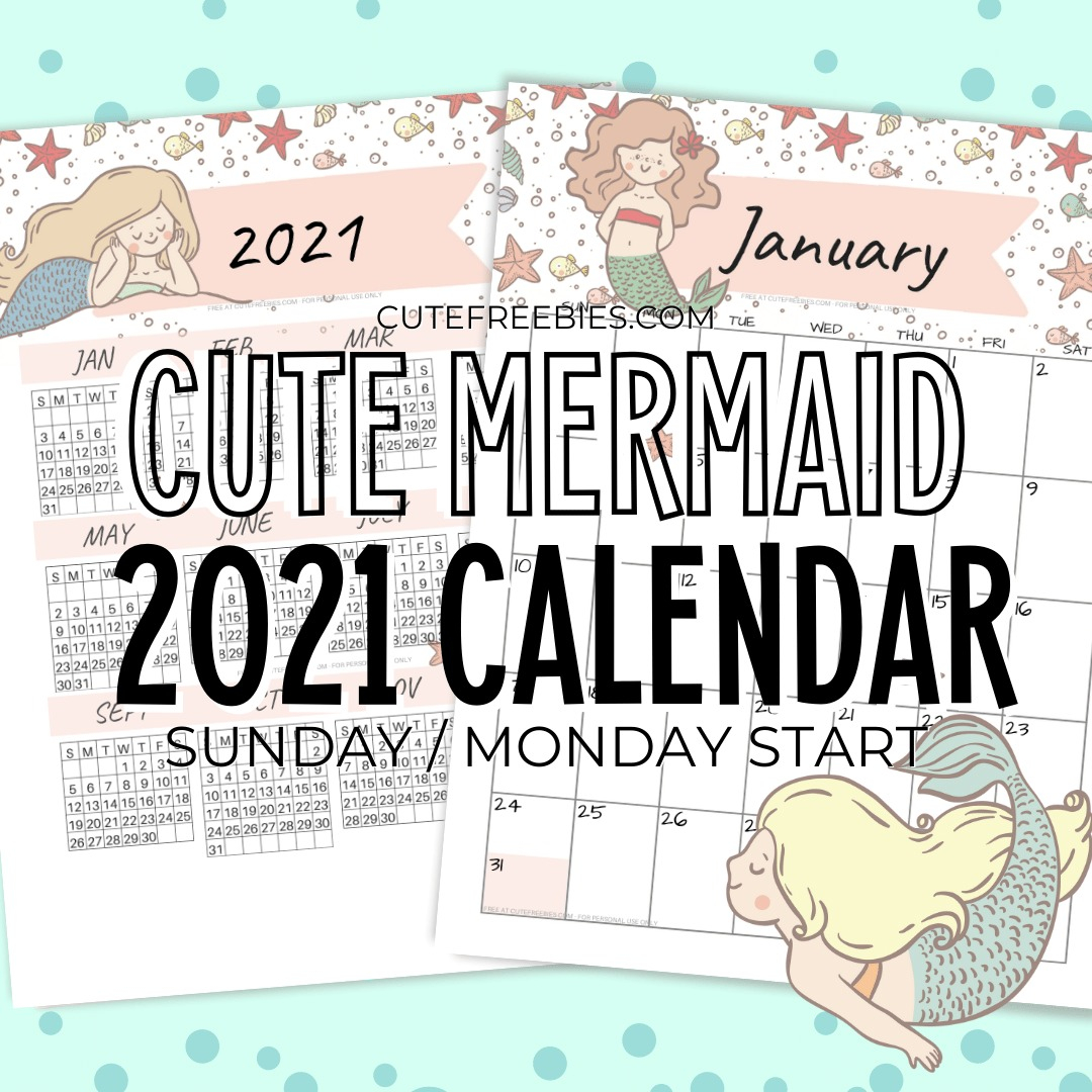 FREE PRINTABLE 2021 CALENDAR MERMAID