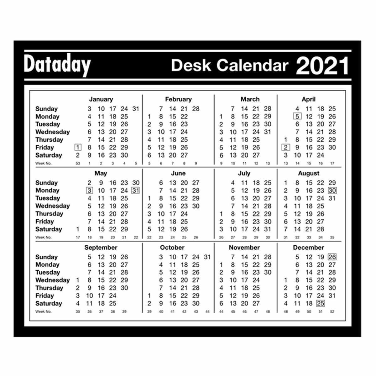 dataday year to view calendar 2021 1