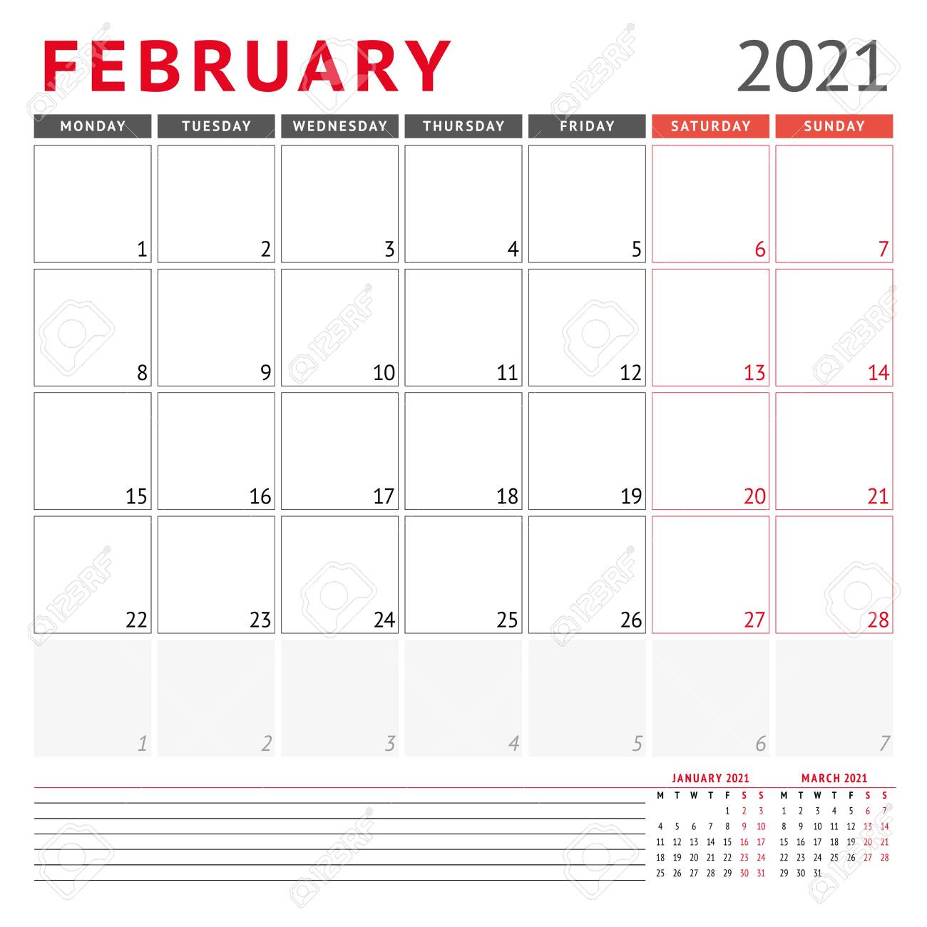 photo stock vector calendar template for february 2021 business monthly planner stationery design week starts on monday