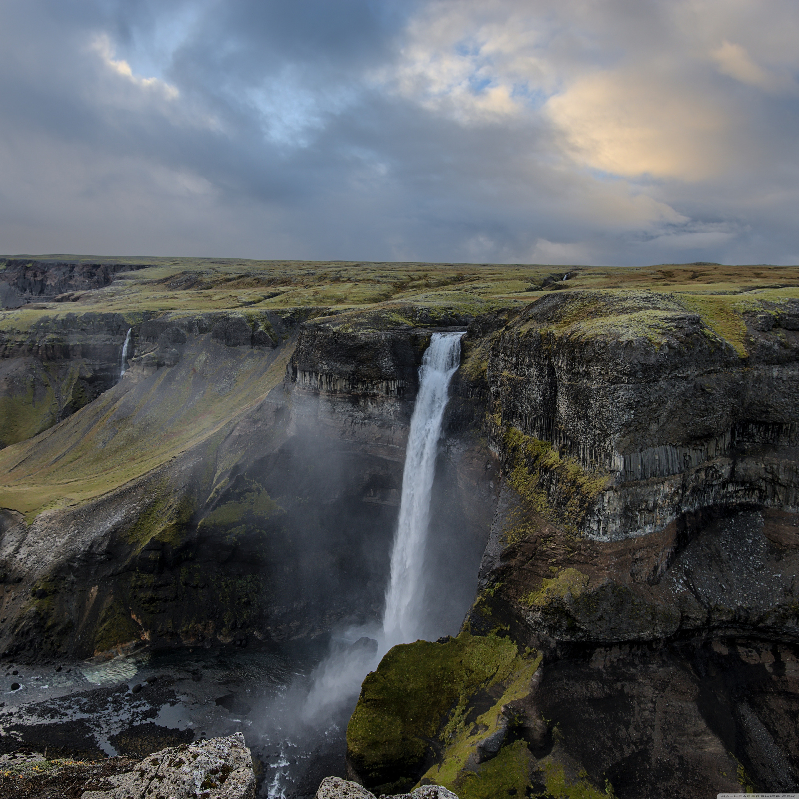 iceland waterfall panoramic view wallpapers