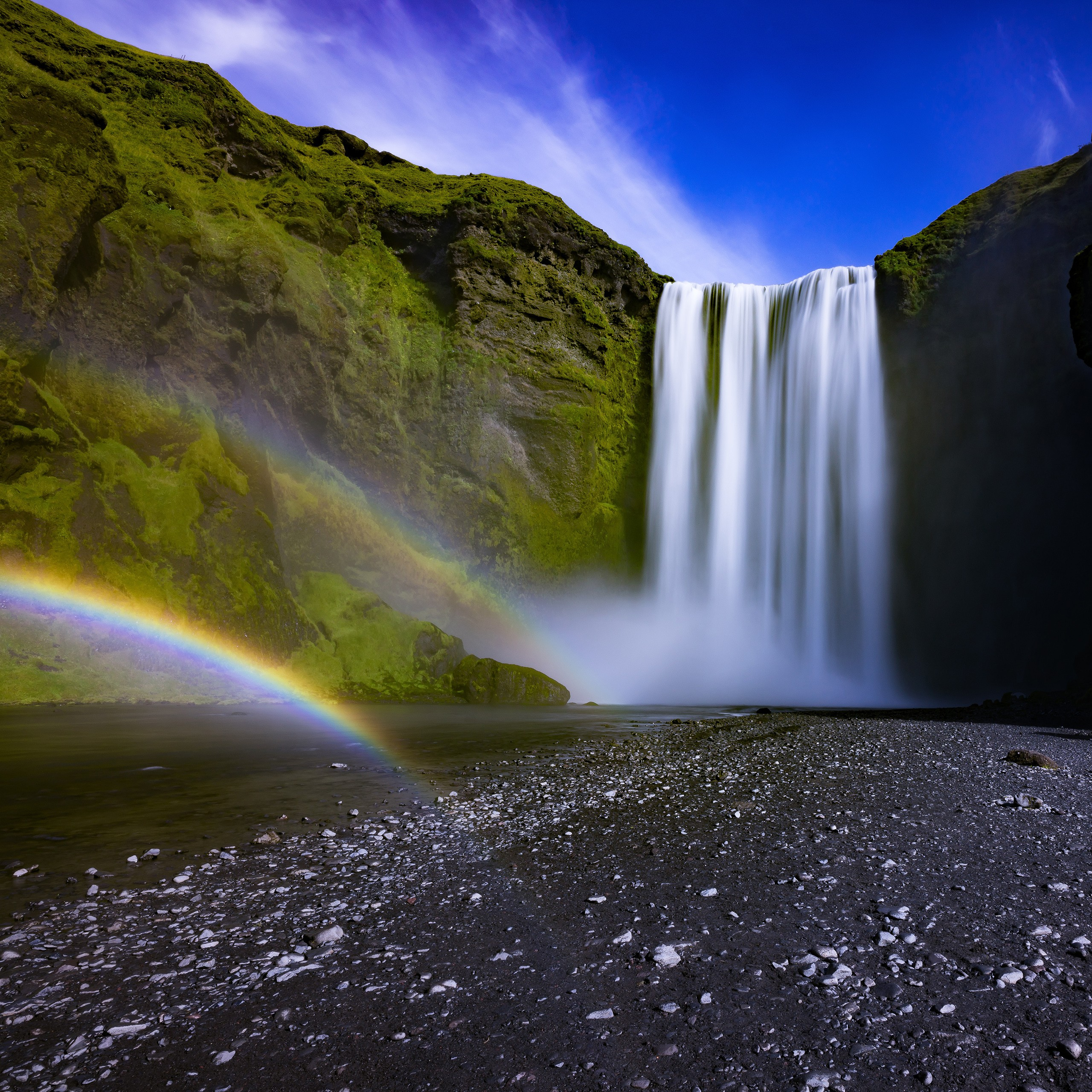 skogafoss waterfall iceland 4k wallpapers