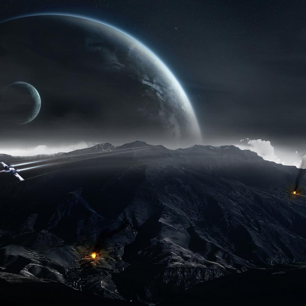 fantasy airplanes planets mountains fires dark background wallpaper