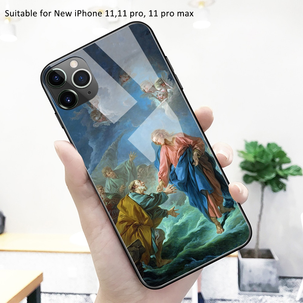 For iPhone 12 case glass back cover art wallpaper case iphone 12 pro max cover funda