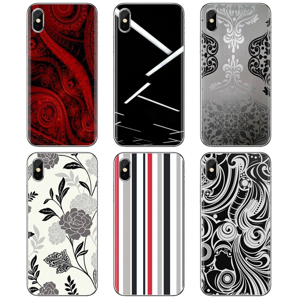 Red Black And White Wallpaper Designs Soft Cover For iPhone 11 Pro 4 4S 5 5S 960x960