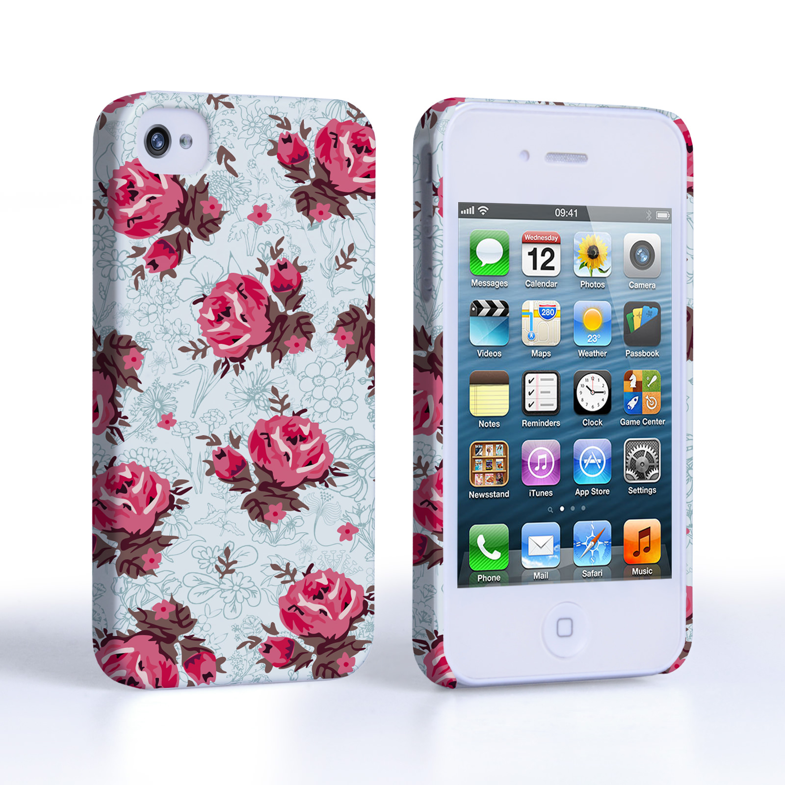 caseflex iphone 4 4s vintage roses wallpaper hard case light blue