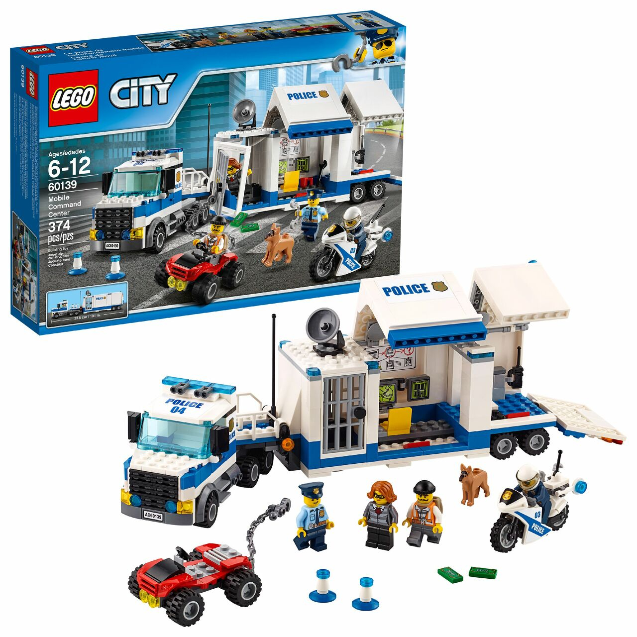 lego city police mobile mand center building toy kids 374 pieces construction blocks build wlm8