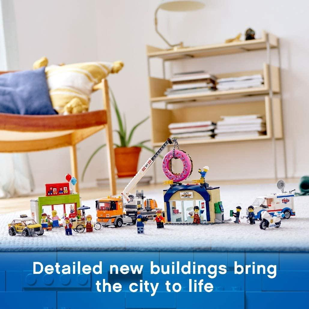 lego city town donut shop opening