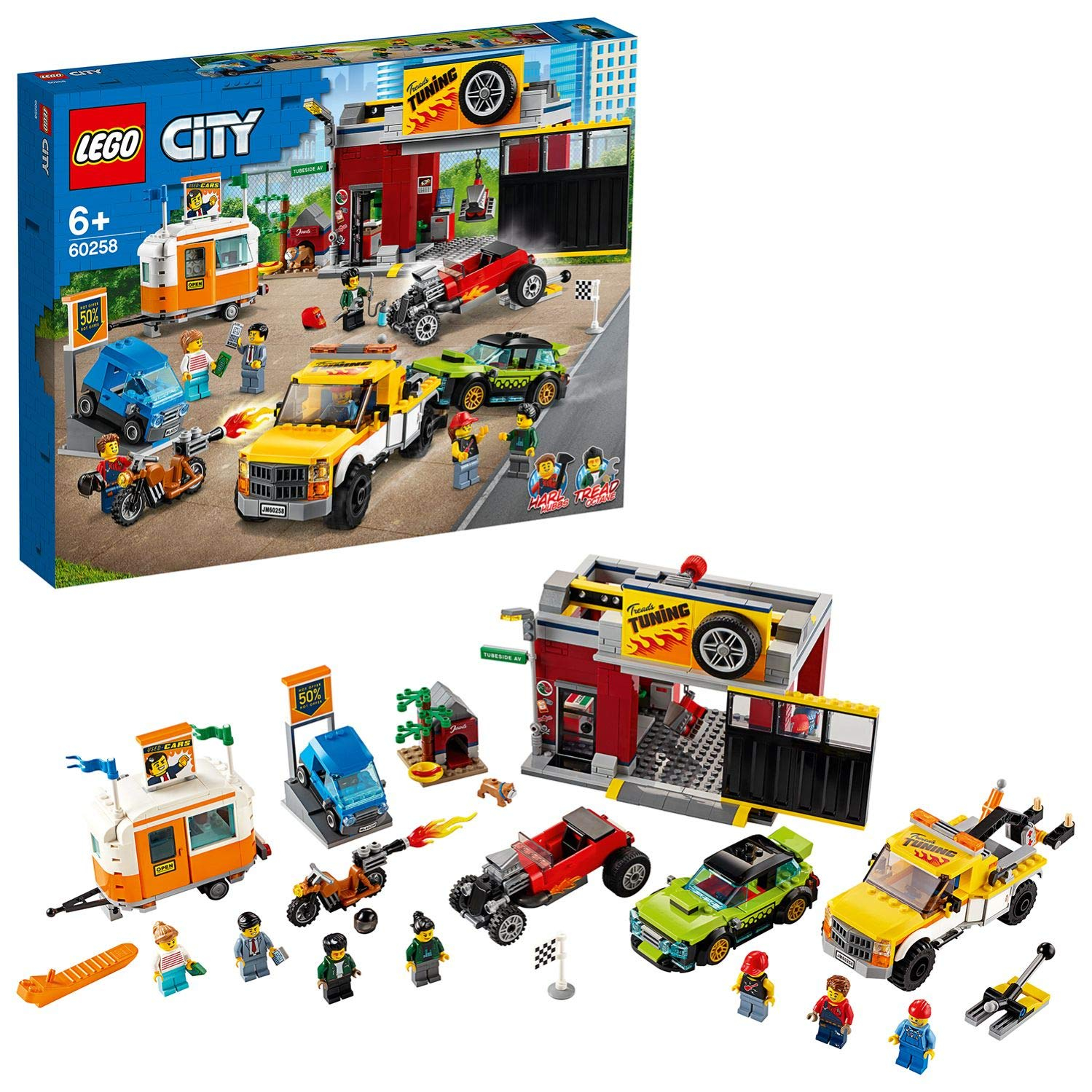 lego city town donut shop opening toy cars set with police motorbike truck with crane trailer and 10 minifigures