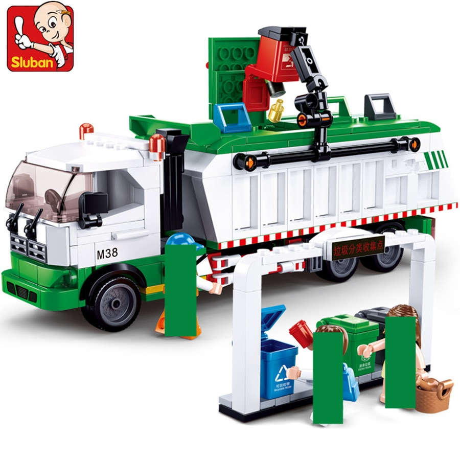432Pcs City Garbage Classification Truck Car 100 Cards Brinquedos Building Blocks Sets Playmobil Educational Toys for