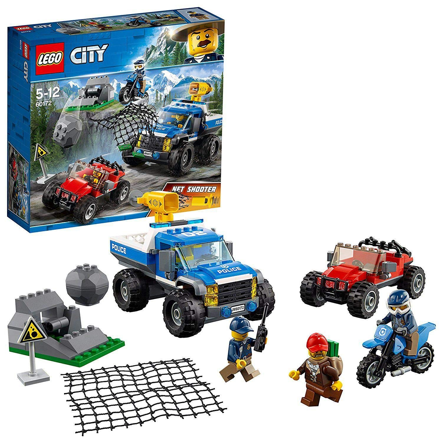 lego city mountain police dirt road pursuit pickup 4 x 4 car with net shooter buggy and motorbike building set