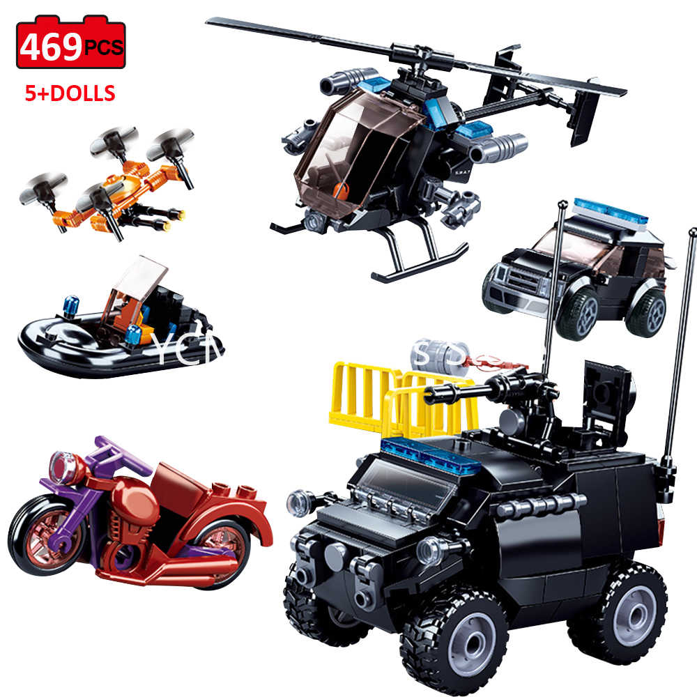 Constructor Fit Lego City Technic SWAT Team Police Car Helicopter Motorcycle Truck Ship Model Children Building q50
