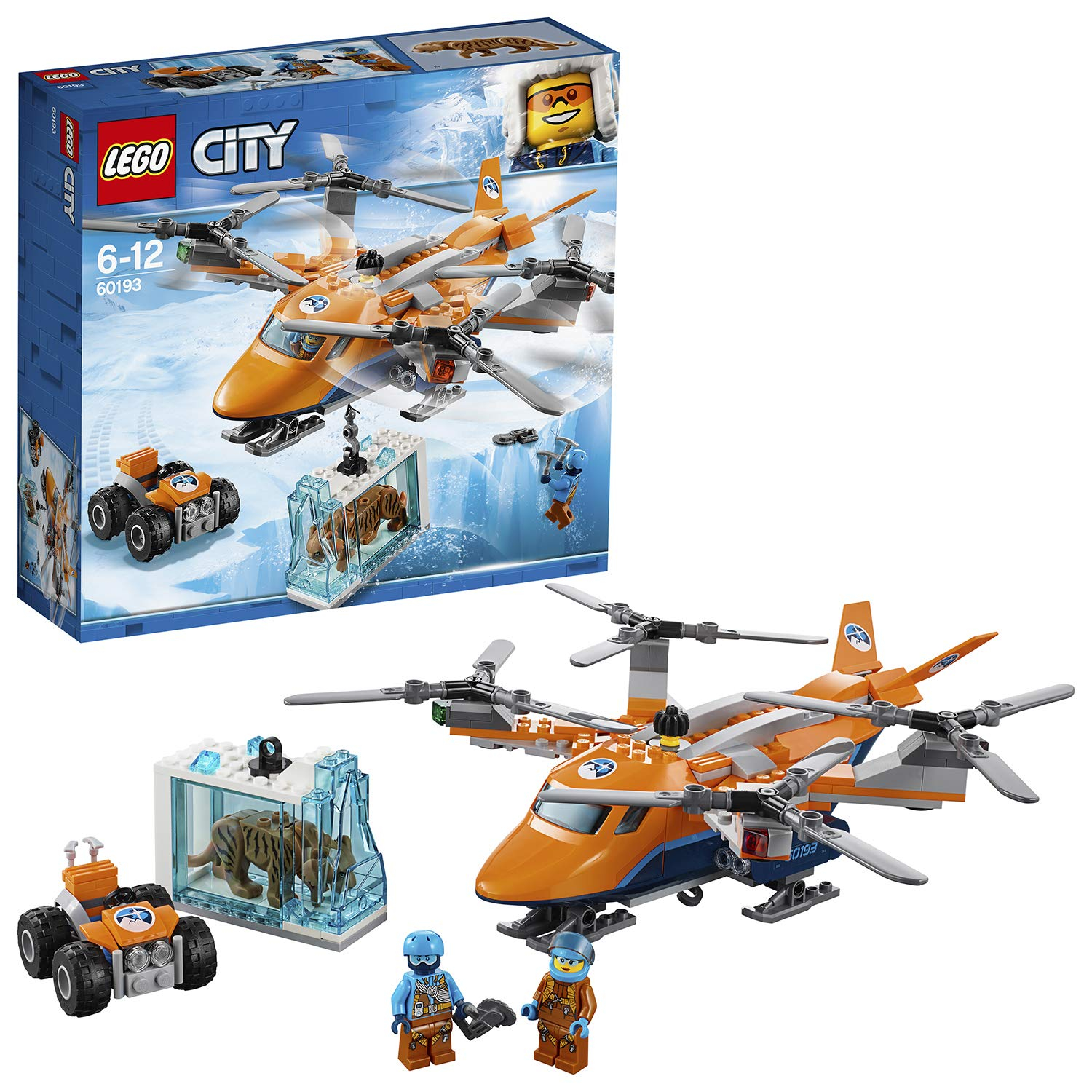 lego city arctic expedition arctic air transport building set with heavy cargo rescue helicopter atv tiger figure winter adventure toys for kids