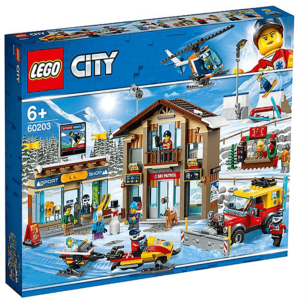 lego city ski resort with helicopter snowplow truck toy p2965