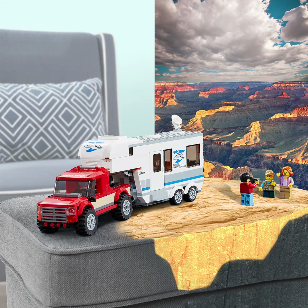 lego city vehicles pickup and caravan building blocks for kids 5 to 12 years 344 pcs multi color