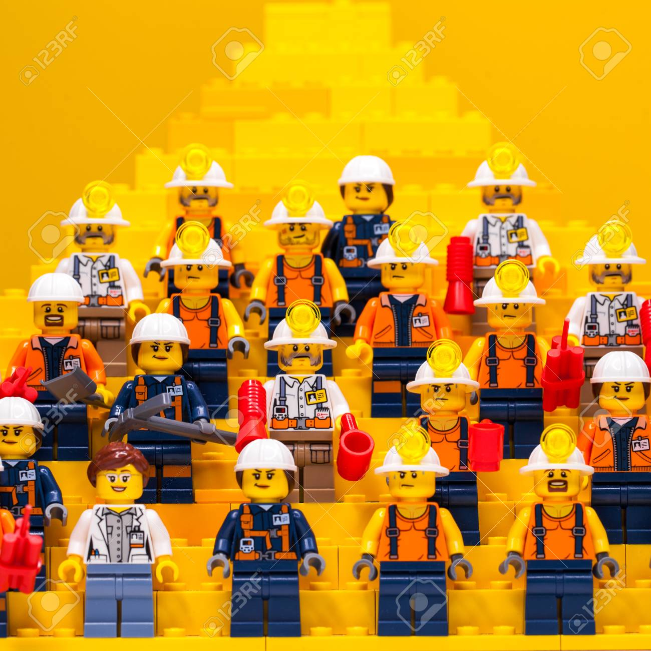 photo russia samara december 18 2019 constructor lego city a large team of builders miners